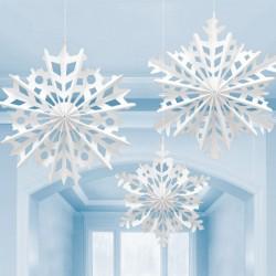 Hópelyhek parti függő dekoráció 3 db-os