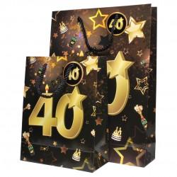 40-es Számos Arany-Fekete Ajándéktasak Szülinapra- Nagy