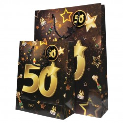 50-es Számos Arany-Fekete Ajándéktasak Szülinapra- Kicsi