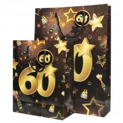 60-as Számos Arany-Fekete Ajándéktasak Szülinapra- Kicsi
