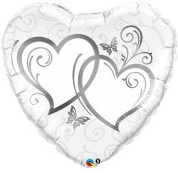 Esküvői Szív Fólia Lufi Ezüst Szívekkel - 46 cm