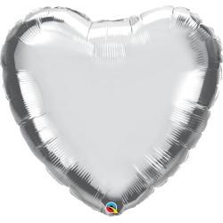 Esküvői ezüst szív fólia lufi 46 cm
