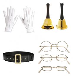MIkulás jelmez kiegészítők: szemüveg, bot, csizma, szakáll, pocak