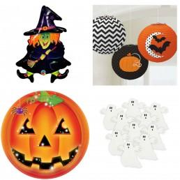 Barátságos Halloween dekoráció szellemekkel, tökökkel