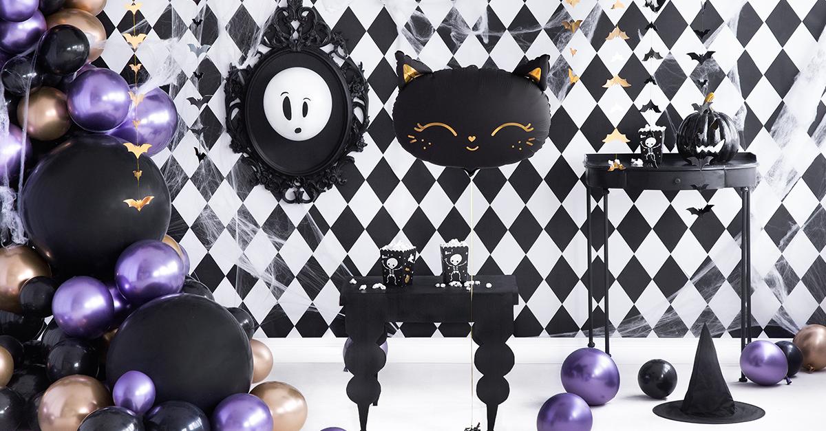 fekete fehér pepita halloween dekoráció